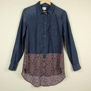 Tops - Anthro Postmark Ditsy Floral Chambray Hi low Shirt